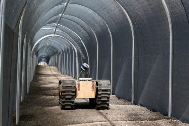 an image of our robot in a tunnel