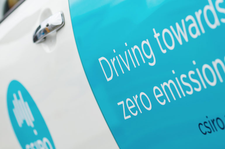CSIRO electric vehicle car with the text 'driving towards zero emissions'